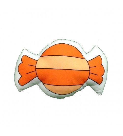 cojín naranja con rayas