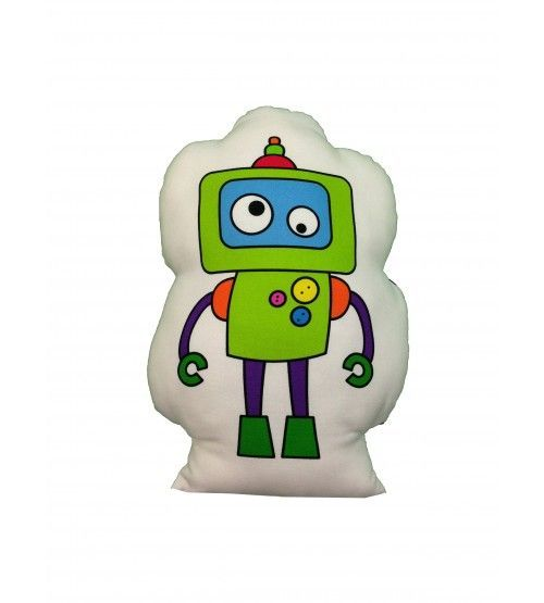 cojín robot verde