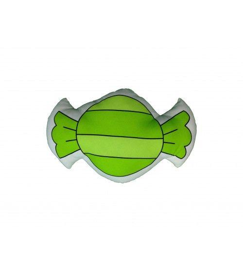 cojín verde con rayas