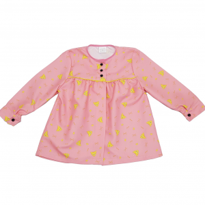 blusón rosa peinetas amarillas