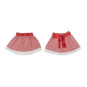 Falda vichy rojo y puntilla