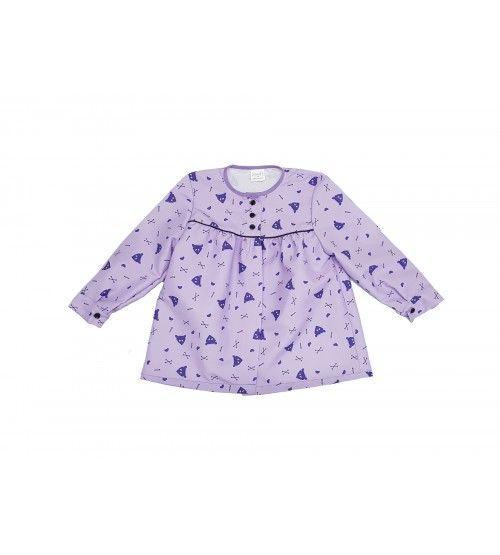 blusón infantil lila peinetas moradas