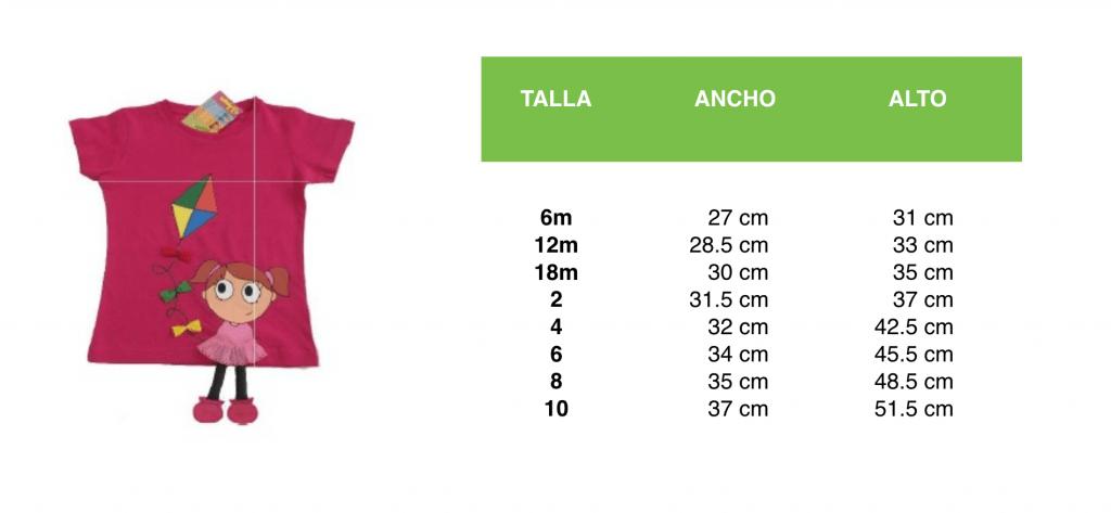 guia de tallas camiseta niña